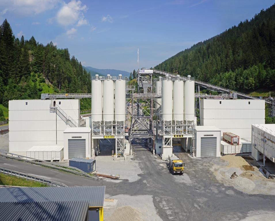 Two Liebherr mixing plants Betonmix 3.0 master concrete production at Brenner Base Tunnel
